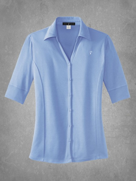 Ladies button front polo for Womens button up polo shirts