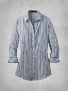 Ladies Vertical Stripe Dress Shirt