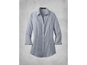 Ladies Vertical Stripe Dress Shirt