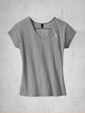 Ladies Mini Stripe V-Neck