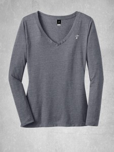 Ladies Textured Long Sleeve V-Neck
